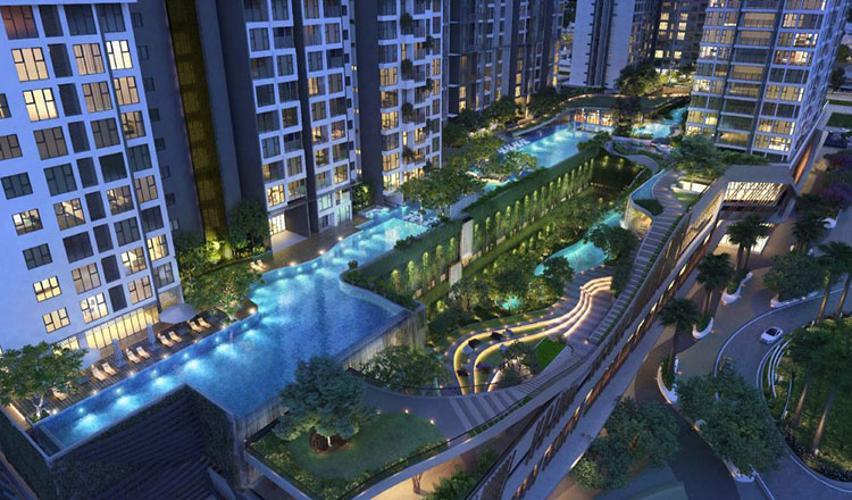 view nội khu căn hộ Feliz En Vista Căn hộ Feliz En Vista thô, tầng cao view thành phố thoáng mát.