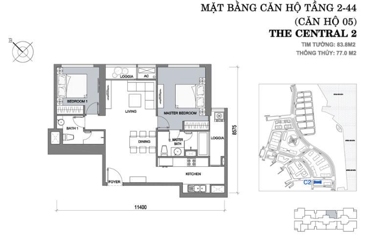 Mặt bằng căn hộ 2 phòng ngủ Căn hộ Vinhomes Central Park 2 phòng ngủ tầng cao C2 nhà trống