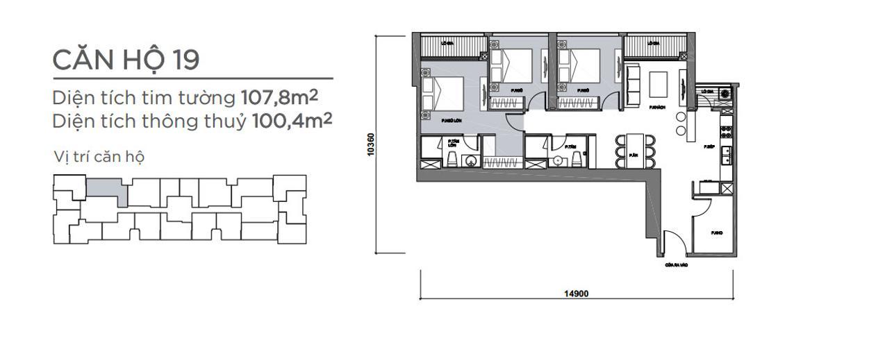 Mặt bằng căn hộ 3 phòng ngủ Căn hộ Vinhomes Central Park 3 phòng ngủ tầng thấp P7 view hồ bơi