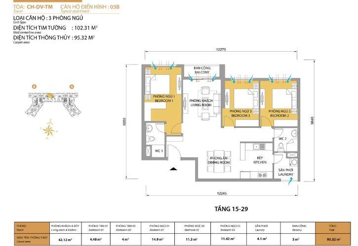 Mặt bằng căn hộ 3 phòng ngủ Căn hộ Masteri Thảo Điền 3 phòng ngủ tầng cao T5 nhà trống