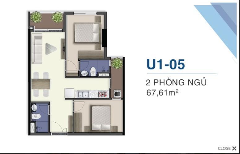 Mặt bằng căn hộ Q7 Saigon Riverside Complex Bán căn hộ Q7 Saigon Riverside Complex thuộc tầng cao view đẹp, 2 phòng ngủ, diện tích 67m2, kèm nội thắt cơ bản.