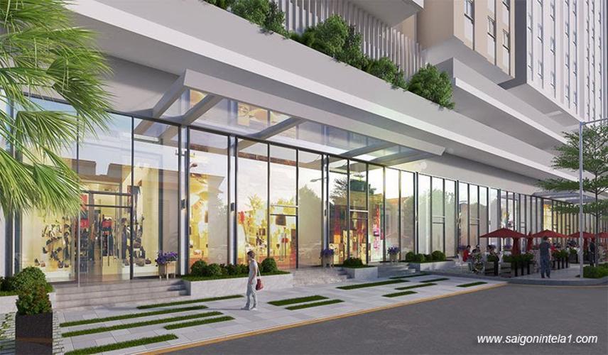 Tiện ích khu mua sắm Saigon Intela, Bình Chánh Căn hộ tầng trung Saigon Intela ban công đón view thành phố.