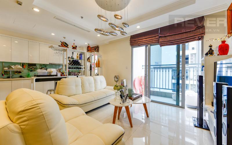 phòng khách Căn góc Vinhomes Central Park tầng cao C2 full nội thất, view sông