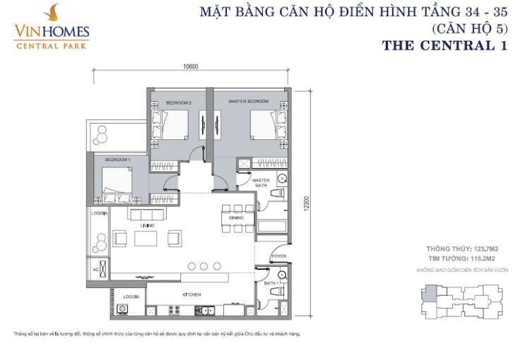 Mặt bằng căn hộ 3 phòng ngủ mã căn 05 Căn hộ The Central Vinhomes Central Park tầng cao hướng Đông Bắc tháp C1