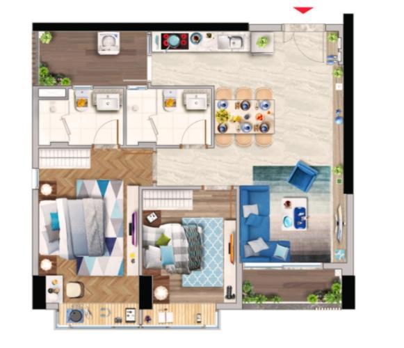 Căn hộ Phú Mỹ Hưng Midtown view thành phố thoáng mát, 2 phòng ngủ.