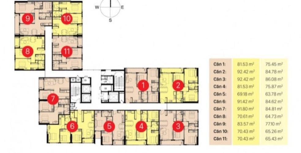 layout block I SRR Căn hộ thô tầng thấp Sunrise Riverside, ban công hướng Bắc