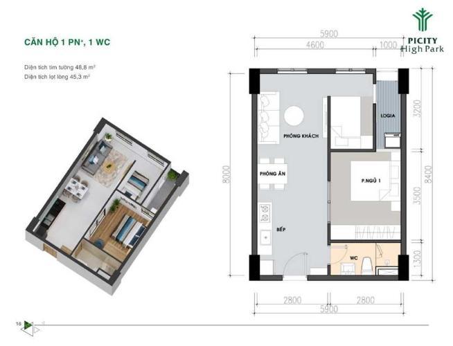 Căn hộ Picity High Park tầng trung, nội thất cơ bản.