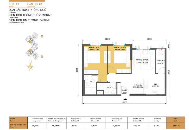 Mặt bằng căn hộ 2 phòng ngủ Căn hộ Masteri Thảo Điền 2 phòng ngủ tầng cao T1 hướng Tây Bắc