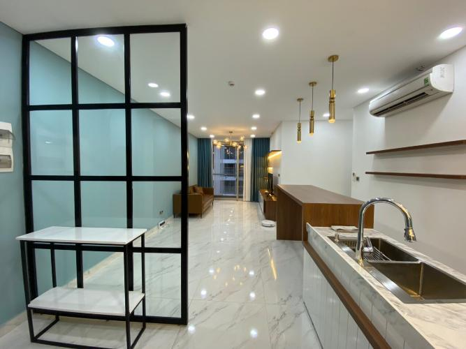 Bếp Phú Mỹ Hưng Midtown Căn hộ Phú Mỹ Hưng Midtown đầy đủ nội thất, thiết kế gam màu xanh mát.