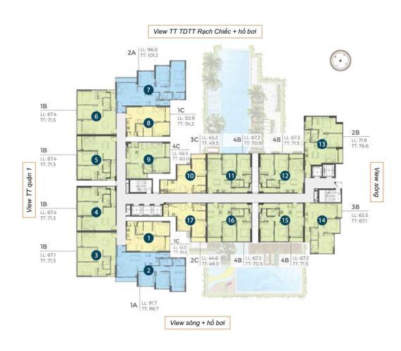 Mặt bằng căn hộ Precia, Quận 2 Căn hộ Precia tầng 11 nội thất cơ bản, 1 phòng ngủ.