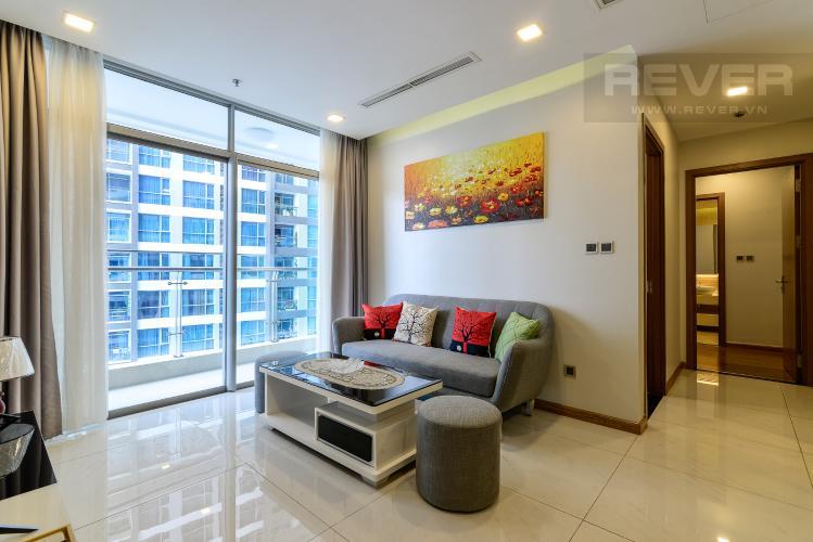 Phòng Khách Cho thuê căn hộ Vinhomes Central Park 2PN, đầy đủ nội thất, view sông, hướng Đông Nam đón gió