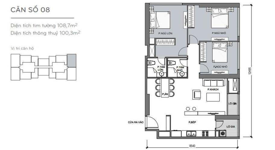 Mặt bằng căn hộ 3 phòng ngủ Căn góc Vinhomes Central Park 3 phòng ngủ tầng cao L4 hướng Đông Nam