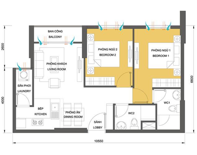 Mặt bằng căn hộ 2 phòng ngủ Căn hộ Masteri Thảo Điền 2 phòng ngủ tầng cao T1 đầy đủ nội thất