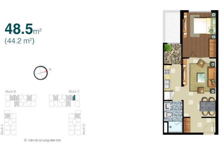 Căn hộ 1 phòng ngủ Căn hộ Lexington 1 phòng ngủ tầng thấp block C đầy đủ nội thất