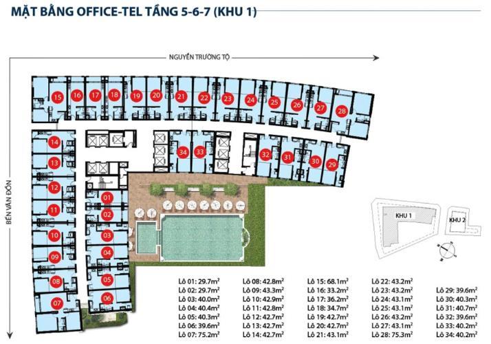 Mặt bằng officetel tầng 5 Saigon Royal  Officetel Saigon Royal tầng thấp, nội thất cơ bản.