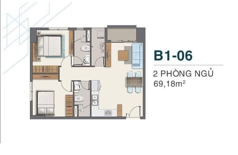 layout căn hộ Q7 boulevard Bán căn hộ Q7 Boulevard, ban công hướng Bắc nhìn về khu Phú Mỹ Hưng.