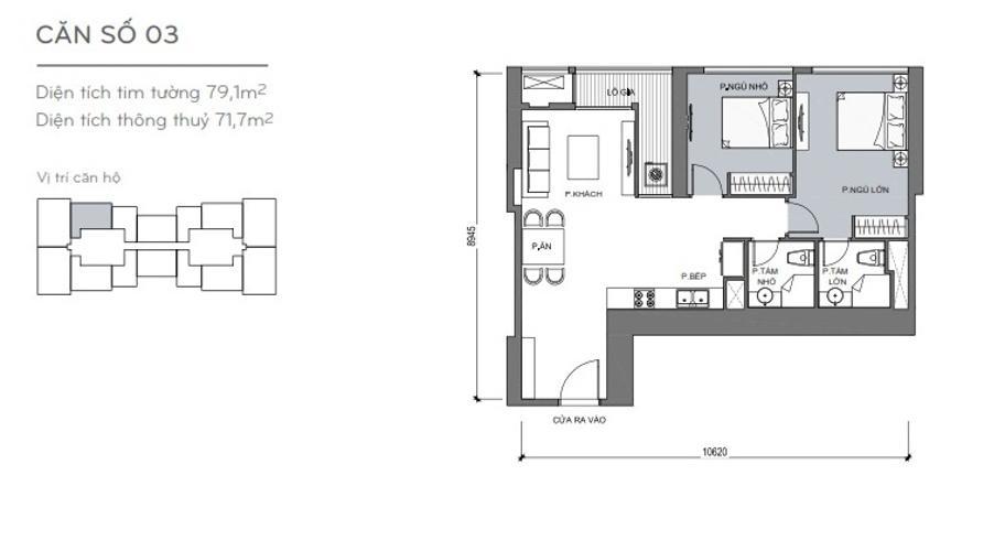 Mặt bằng căn hộ 2 phòng ngủ Căn hộ Vinhomes Central Park 2 phòng ngủ tầng thấp L5 đầy đủ tiện nghi