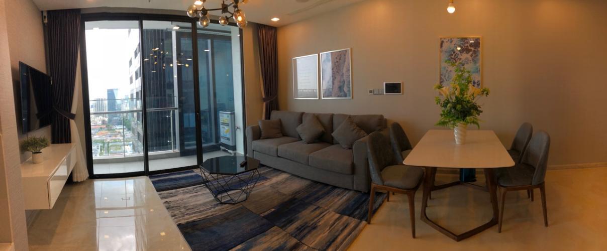 Phòng khách căn hộ Vinhomes Golden River Cho thuê căn hộ Vinhomes Golden River 2PN, đầy đủ nội thất, view sông và Bitexco, xem nhà 24/24