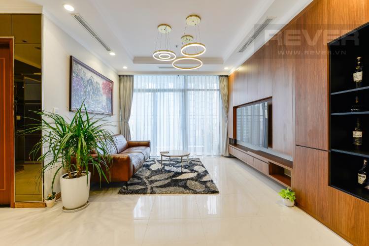 Phòng khách Căn góc Vinhomes Central Park 3 phòng ngủ tầng cao L1 đầy đủ nội thất