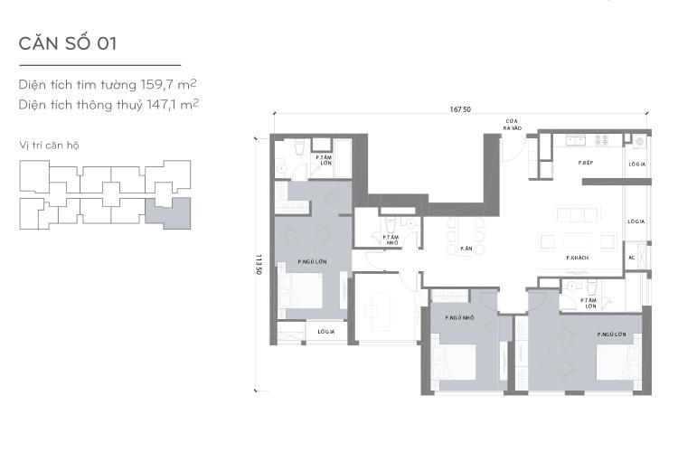 Mặt bằng căn hộ 4 phòng ngủ Căn góc Vinhomes Central Park trung tầng L1 view trực diện sông