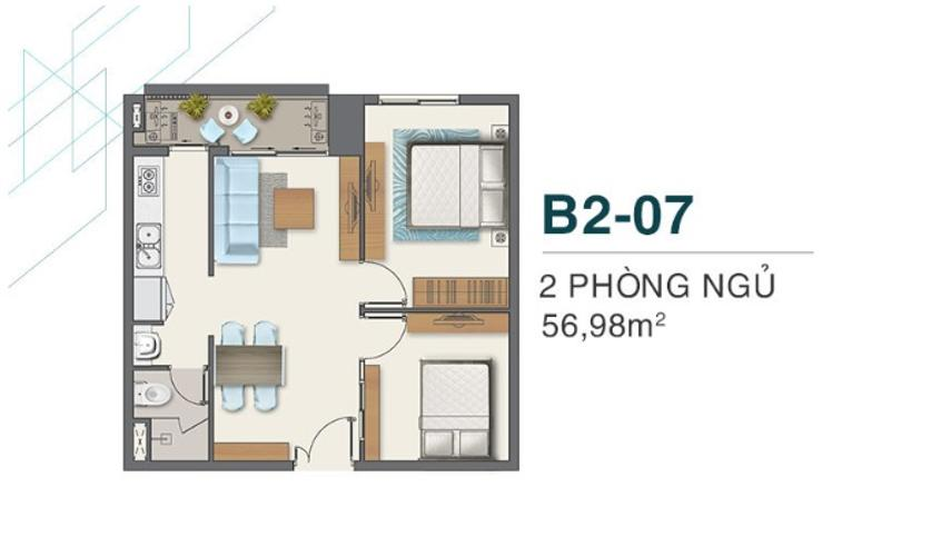 B2.07 Bán căn hộ Q7 Boulevard diện tích 56,98m2, thuộc tầng cao, ban câu hướng Bắc, view đẹp