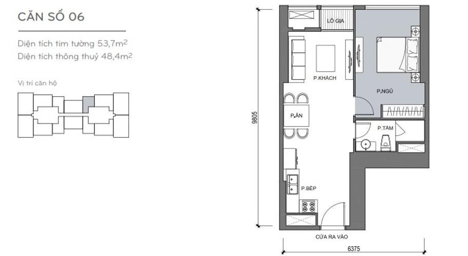 Mặt bằng căn hộ 1 phòng ngủ Căn hộ Vinhomes Central Park 1 phòng ngủ tầng trung L5 nội thất đầy đủ