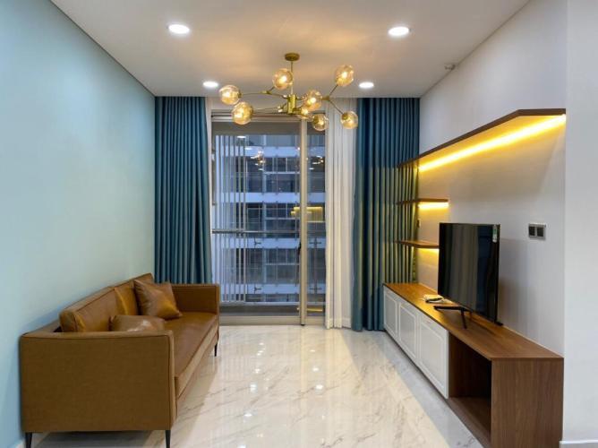 Phòng khách Phú Mỹ Hưng Midtown Căn hộ Phú Mỹ Hưng Midtown đầy đủ nội thất, thiết kế gam màu xanh mát.
