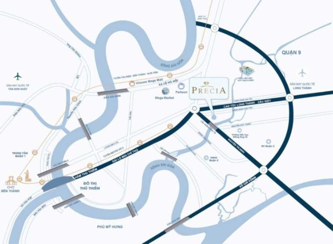 Vị trí dự án Precia, Quận 2 Căn hộ tầng 8 chung cư Precia hướng Tây Nam, nội thất cơ bản.