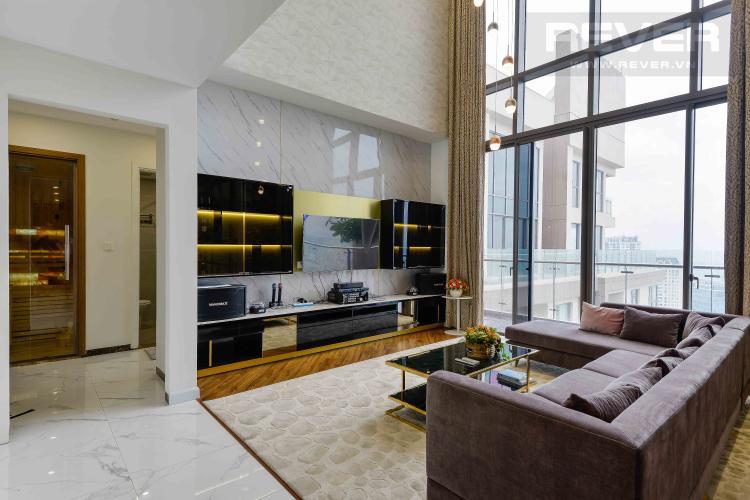 Phòng Khách Bán penthouse Masteri Millennium 3PN, diện tích 222m2, đầy đủ nội thất, view sông và Bitexco