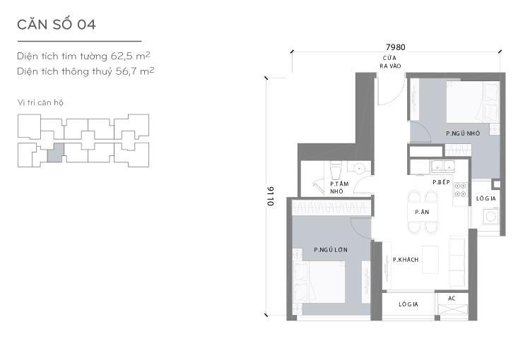 Mặt bằng căn hộ 2 phòng ngủ Căn hộ Vinhomes Central Park 2 phòng ngủ tầng cao L1 nội thất đầy đủ