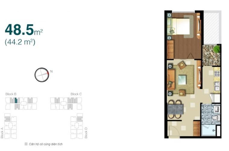 Mặt bằng căn hộ 1 phòng ngủ Căn hộ Lexington Residence tầng cao LB thiết kế đẹp, tiện nghi
