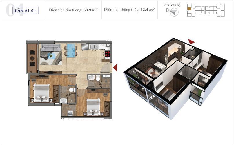 Căn hộ Office-tel Sunshine City Sài Gòn 2 phòng ngủ, view thành phố.