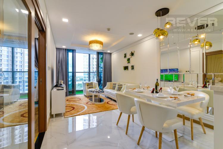 Phòng Khách Bán căn hộ Vinhomes Central Park 1PN, tháp Landmark 81, đầy đủ nội thất, view trực diện hồ bơi