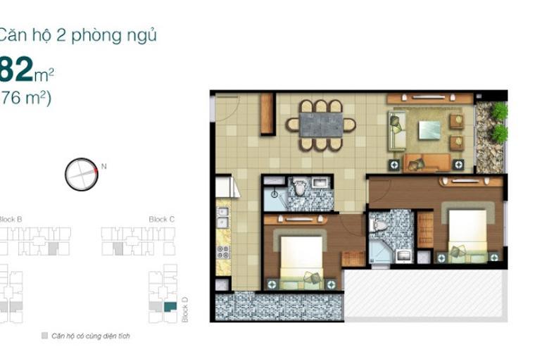Mặt bằng căn hộ 2 phòng ngủ Căn hộ Lexington Residence 2 phòng ngủ tầng thấp LD hướng Bắc