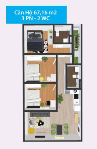 Mặt bằng căn hộ Căn hộ Topaz Home 2 tầng trung, nội thất cơ bản, view thoáng mát.