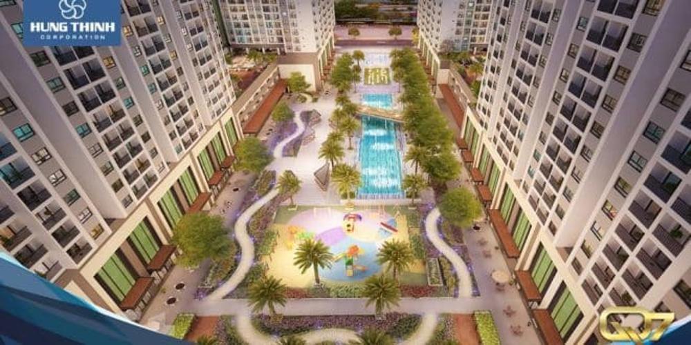 Nôi khu - Hồ bơi Q7 Sài Gòn Riverside Căn hộ Q7 Saigon Riverside tầng trung, ban công hướng Nam.