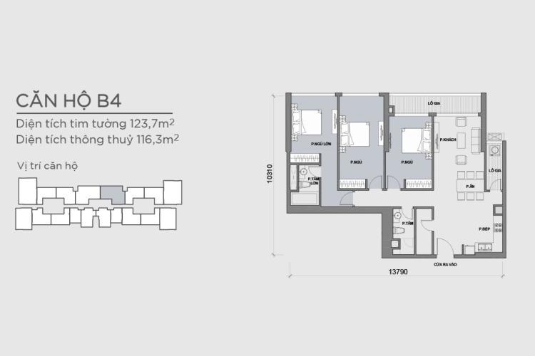 Mặt bằng căn hộ 3 phòng ngủ Căn hộ Vinhomes Central Park 3 phòng ngủ tầng trung P6 view công viên