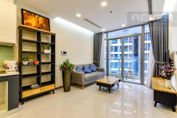 Phòng Khách Officetel 1 phòng ngủ căn hộ Vinhomes Central Park, tầng thấp, full nội thất