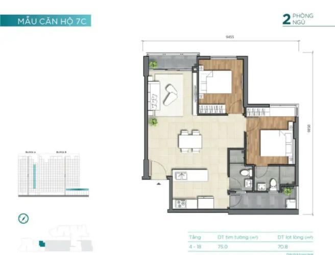 layout căn số 4 tháp A dự án D'Lusso quận 2 Căn hộ tầng trung D'Lusso view thoáng mát, nội thất cơ bản.