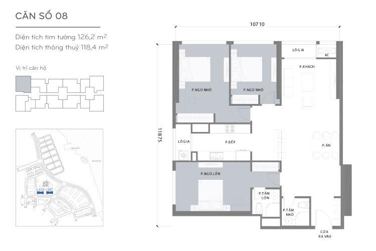 Mặt bằng căn hộ 3 phòng ngủ Căn góc Vinhomes Central Park tầng trung L2 nội thất cơ bản, view sông