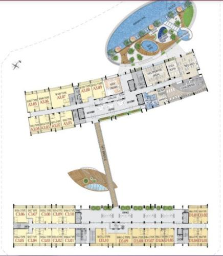 Layout tầng shop-house Phú Mỹ Hưng Midtown Shop-house thô Phú Mỹ Hưng Midtown hướng Tây Bắc, diện tích 5mx7.8m.