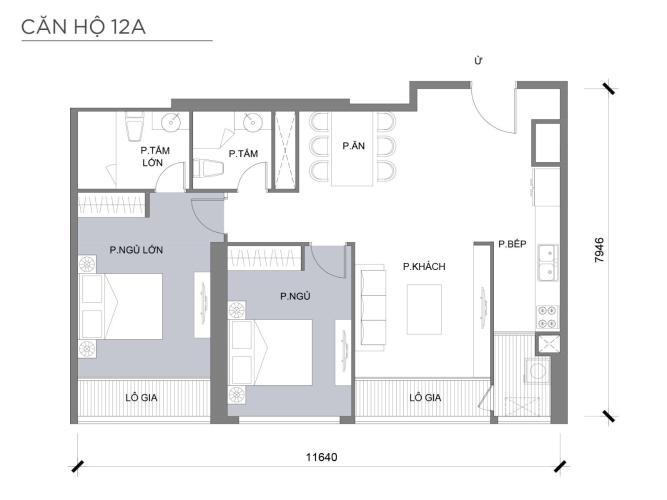 Mặt bằng căn hộ 2 phòng ngủ Căn hộ Vinhomes Central Park 2 phòng ngủ tầng thấp P3 view sông