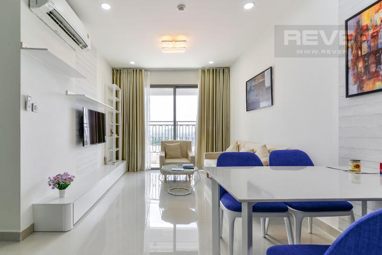 Phòng Khách Cho thuê căn hộ Saigon Royal 2PN, tháp A, đầy đủ nội thất, view Bitexco và sông Sài Gòn
