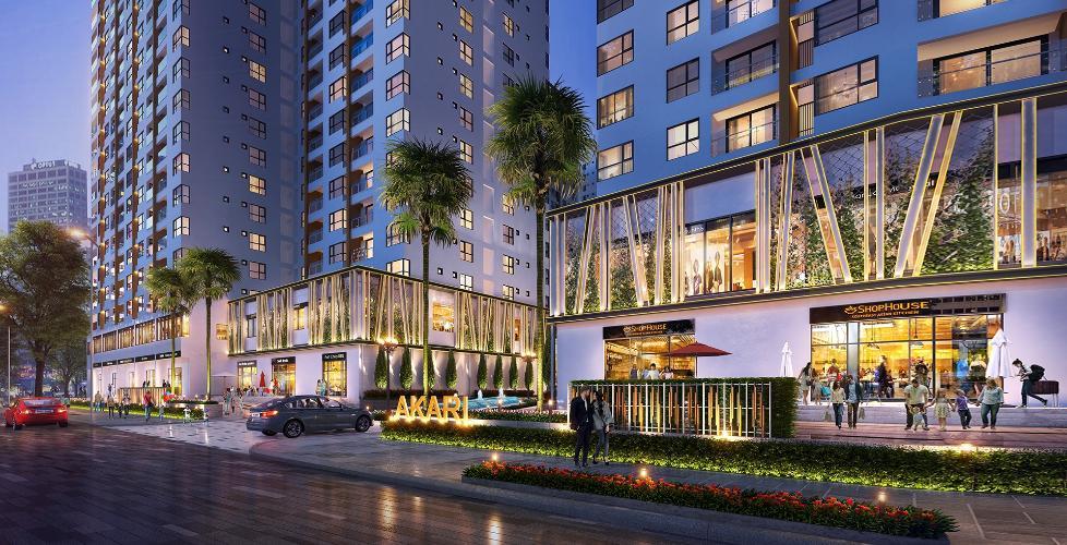 Mặt tiền dự án Akari City Căn hộ tầng trung Akari City bàn giao nội thất cơ bản.