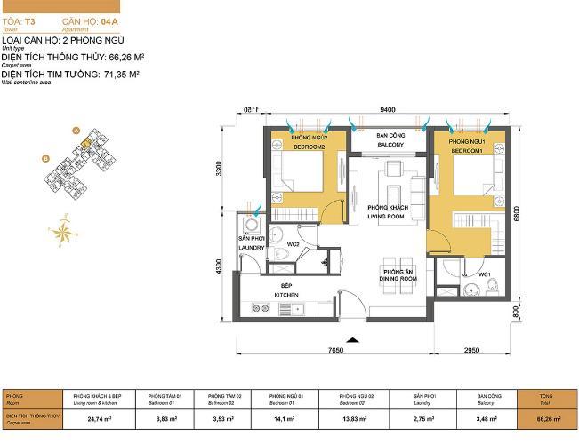 Mặt bằng căn hộ 2 phòng ngủ Căn hộ Masteri Thảo Điền 2 phòng ngủ tầng cao T3 hướng Tây Bắc