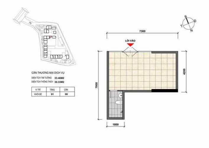 Shophouse Opal Skyline diện tích 33.46m2 nội thất cơ bản