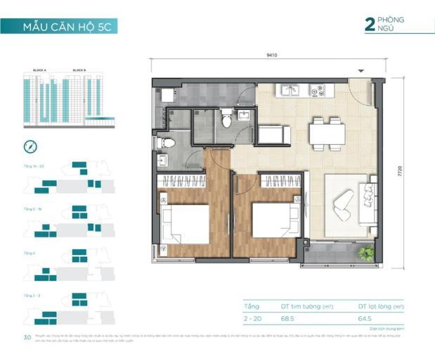 Mặt bằng căn hộ D'Lusso, Quận 2 Căn hộ D'Lusso tầng thấp nội thất cơ bản, 2 phòng ngủ.