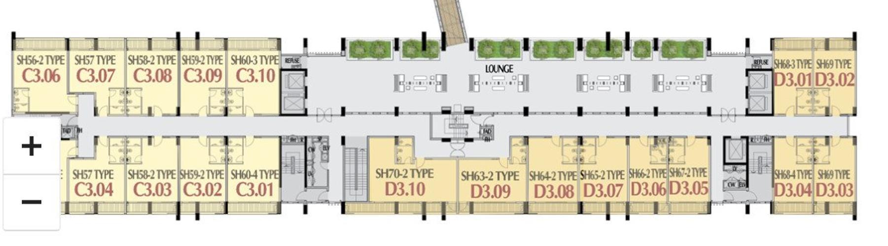 Shop-house thô Phú Mỹ Hưng Midtown hướng Tây Bắc, diện tích 5mx7.8m.