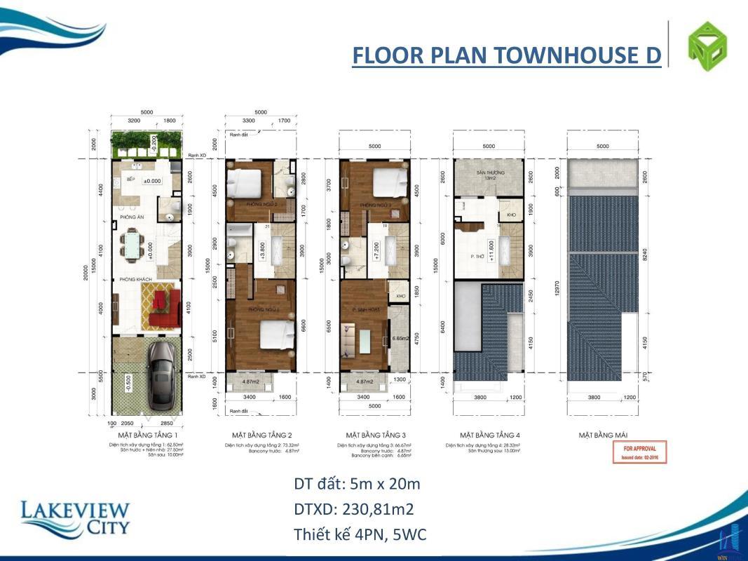 NHÀ_PHỐ_D Bán nhà phố thương mại Lakeview City 4 tầng, diện tích 100m2, ngang 5m, đầy đủ nội thất