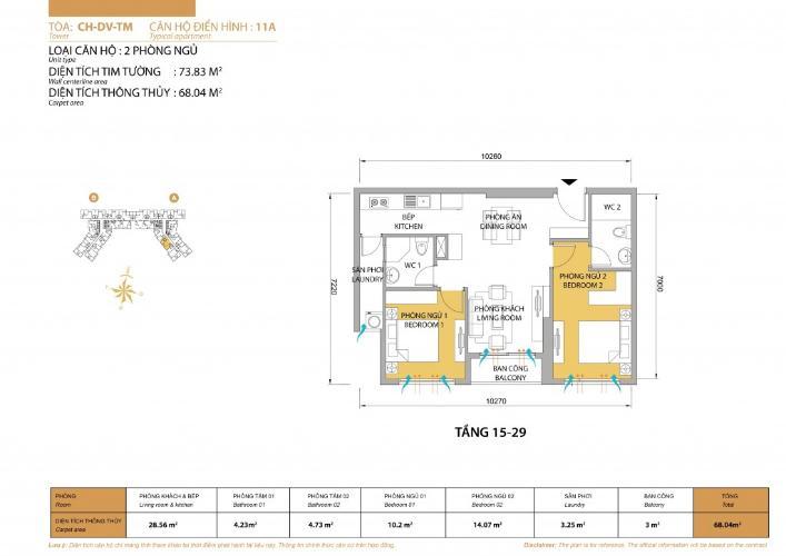 Mặt bằng căn hộ 2 phòng ngủ Căn hộ Masteri Thảo Điền tầng cao T5, 2 phòng ngủ, đầy đủ nội thất